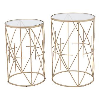 """15"""" x 15"""" x 22.4"""" Clear & Gold, Tempered Glass & Steel, Side Table Set"""
