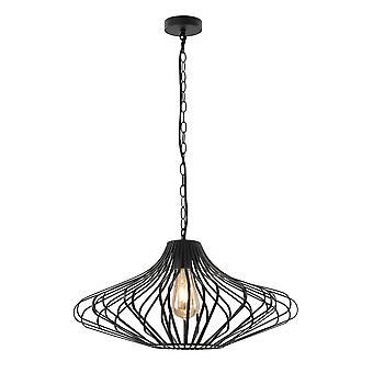 Iluminación luminosa - Colgante de techo enjaulado, 1 x E27, negro mate