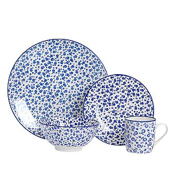 Nicola Spring 24 Piece Daisy Patterned Dinner Set - Dinner Plates, Side Plates, Bowls and Mugs - Navy Blue