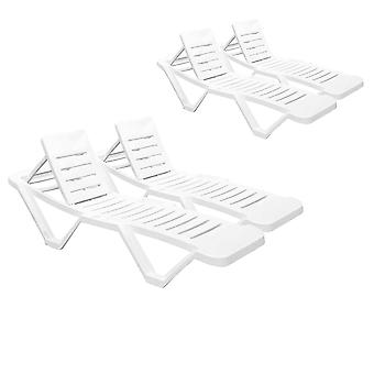 Resol Master Garden Sun Lounger Bed - Adjustable Reclining Outdoor Summer Furniture - White - Pack of 4