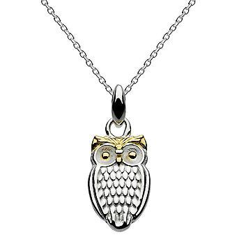 Dew Sterling Silver Grow Wise Owl med guldpläterad hänge 9010GD014