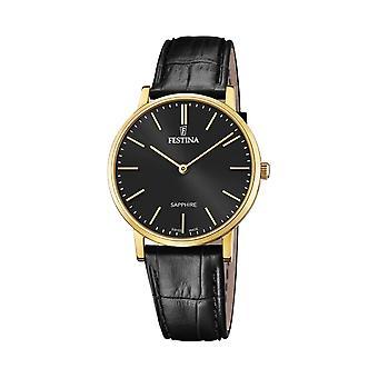 Festina Swiss F20016-3 Men's Swiss Made Gold Tone Case Black Dial Wristwatch