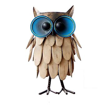 Large Wooden 30.5x17x8.5cm Handmade Creative Owl Wrought Iron Statue Crafts