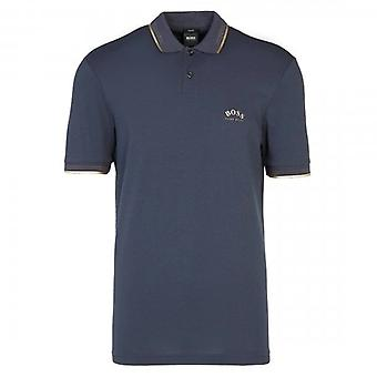 Boss Green Hugo Boss Paul Curved Logo Short Sleeve Polo Navy 50412675