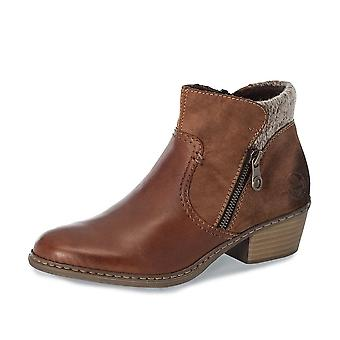 Rieker 55591-24 Muskat Leather Ankle Boots In Brown