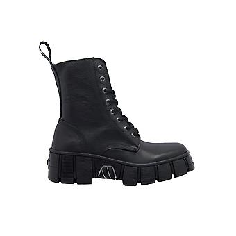 New Rock Wall026nbasa Women's Black Leather Ankle Boots