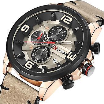 CURREN 8288 Chronograph Calendar Quartz Wrist Watch Leather Strap Waterproof Men