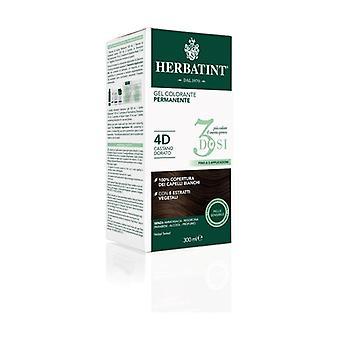 Permanent färg gel hårfärg 3 doser 4D Golden Brown 300 ml