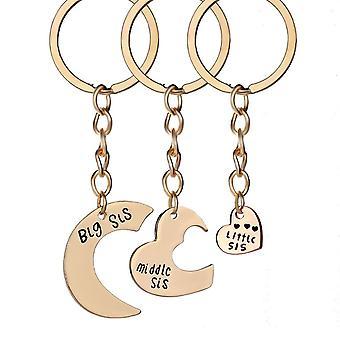 Portachiavi 3pcs/set Fashion Sisters Heart Shape