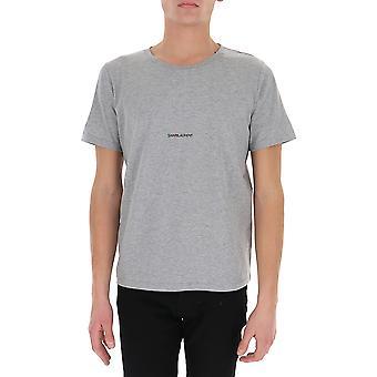 Saint Laurent 464572yb2dq1403 Men's Grey Cotton T-shirt