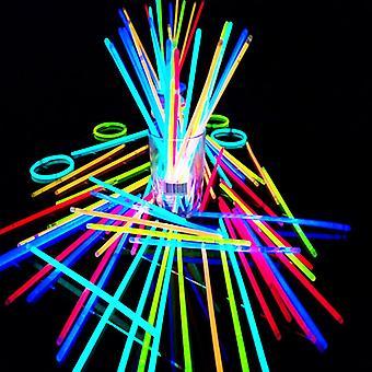 100 Pcs eight-color Party Fluorescence Light Glow Sticks Bracelets Necklaces Neon For Wedding Party Glow Sticks Colorful Glow Stick