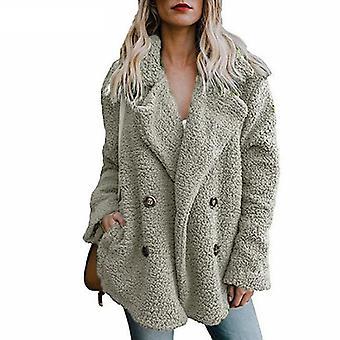 Teddy Coat Women Faux Fur Long Sleeve Fluffy Jackets Winter Warm Female Plus