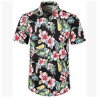 Men's Beach Floral Fruit Print Shirts Tops Casual Short