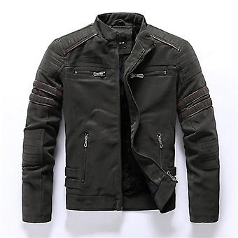 Leather Jacket Men, Autumn, Winter, Fashion Motorcycle Coat, Male Stand Collar,