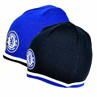 Chelsea FC Official Reversible Football Crest Design Knitted Hat