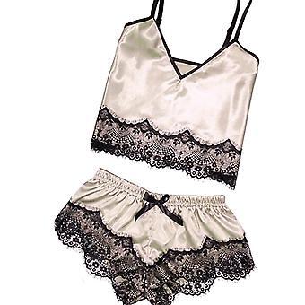 بيجامة مثير الدانتيل الحرير مجموعة الملابس الأشرطة السيدات حمام ملابس النوم الملابس الداخلية