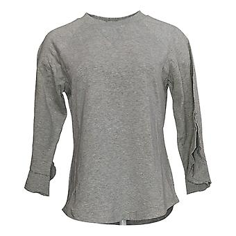 Lisa Rinna Collection Women's Sweatshirt w/Flutter Sleeves Gray A351839