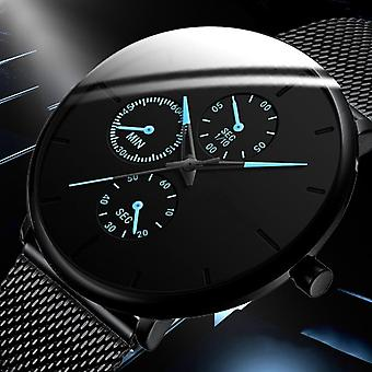 Men Watches Male Clock Quartz Casual Slim Mesh Steel Waterproof Designer