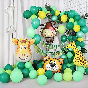 Jungle themed 1st birthday balloon arch decoration diy kit - includes 75+ balloons