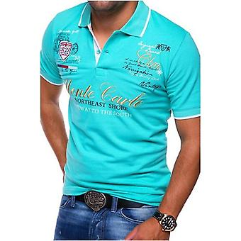 Men Polo Shirt Short Sleeve, Cotton Printing, Solid Anti-shrink, Clothing