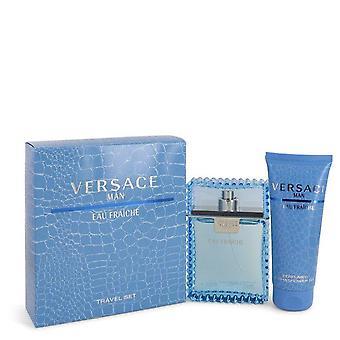 Versace Man Gift Set By Versace 3.3 oz Eau De Toilette Spray (Eau Frachie) + 3.3 oz Shower Gel