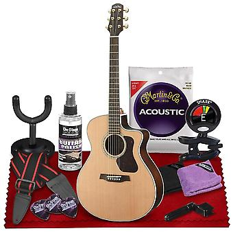 Walden g630ce natura all-solid cedar/rosewood grand auditorium cutaway-electric guitar  with gig bag, strap, strings, tuner, and more ps31463