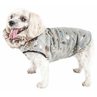 Haustier Leben Luxe 'Gold-Wagger' Gold-Blatt Designer Pelz Hund Jacke Mantel, grau und Gold - groß