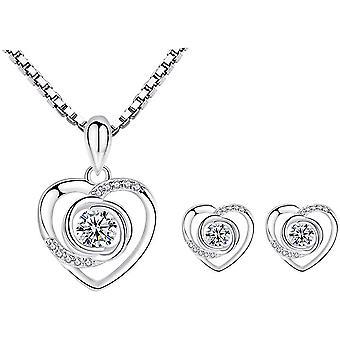 Deyanse Silber Schmuckset fr Damen, 925 Sterling Silber Herz Halskette Ohrringe Set, Schneeflocke