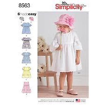 Eenvoud naaien patroon 8563 peuter kind jurk hoed maat 1/2-4