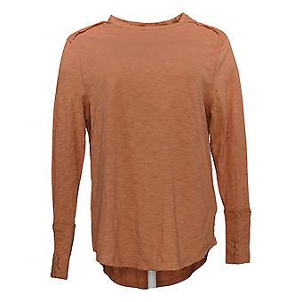 All Worthy Hunter McGrady Women's Top Long-Sleeve Relaxed T Orange A384588