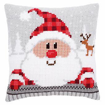 Vervaco Cross Stitch Kit: Coussin: Santa dans un chapeau plaid