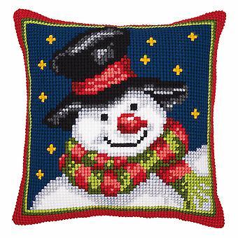 Vervaco Cross Stitch Kit: Coussin: Bonhomme de neige