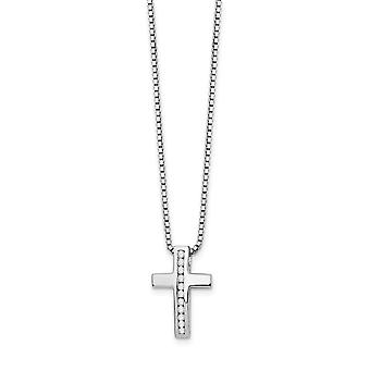 925 Sterling Silver Polished Spring Ring White Ice Diamond Religious Faith Cross Slide Pendant Necklace 18 Inch Jewelry