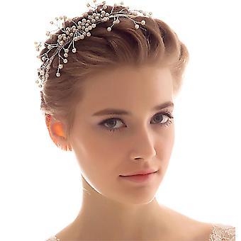 Cocar de noiva Pearl Wedding Headband Crown Tiara Joias