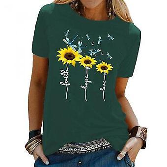 Kvinders Sommer O Neck Floral Print T Shirt Toppe Bluse