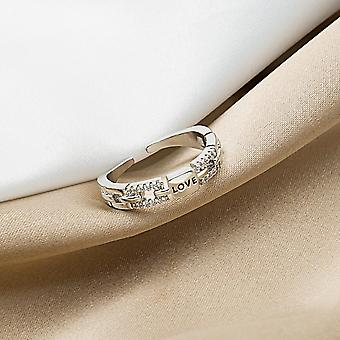 Trend Chain Letter Love Ring Woman Slightly Inlaid Delicate
