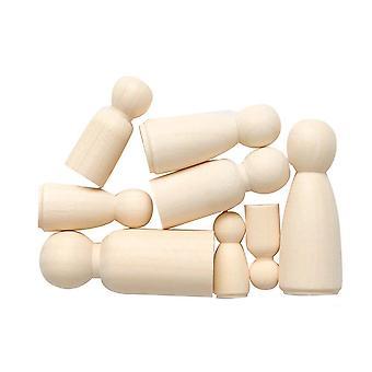 8 formes de personnes mixtes en bois pour l'artisanat | Fournitures de fabrication de cartes