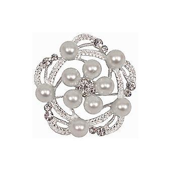 Stor Rund Diamante & Perle Brosje for Blomsterdekoratør eller Bryllup Håndverk