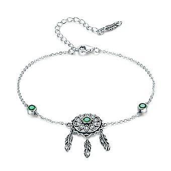 Silver plating Trendy  Dream Catcher Chain Link Bracelets for Women Green Vintage Jewelry
