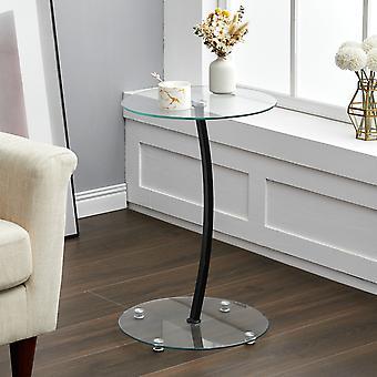 Table d'extrémité d'extrémité de canapé en verre rond à 2 niveaux