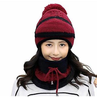 Verdikt gebreide 3 in 1 winterhoed sjaal set voor meisjes dames