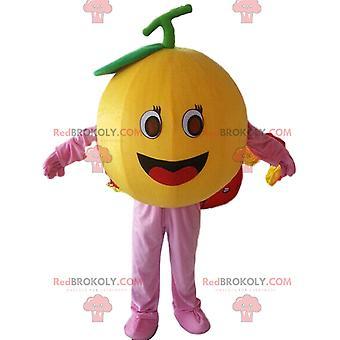 Mascotte REDBROKOLY.COM d'orange géante, déguisement de fruit rond, d'agrumes