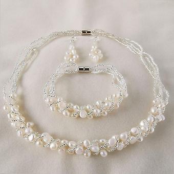 Χειροποίητα σκουλαρίκια κολιέ βραχιόλι μαργαριτάρι κοσμήματα σύνολα