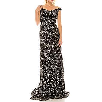 キラキラメッシュ錯視ポートレートネックラインイブニングドレス