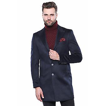 Tummansininen pitkä takki | Kävi koulua wessi