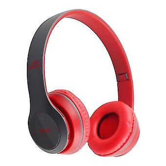 Wireless Bluetooth Headphones Headset Noise Cancelling Foldable(Red)