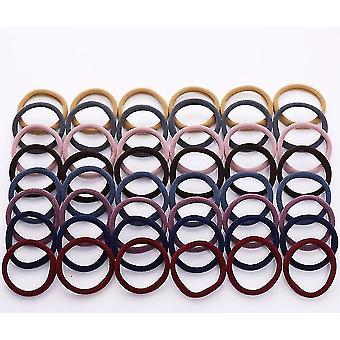 50 Stykker diverse sæt af 4cm farverige nylon elastiske hårbånd til alle hårtyper (Dark)