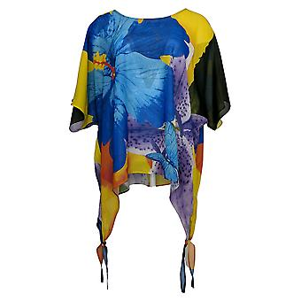 Colleen Lopez Women's Top Printed Poncho Blue 704512