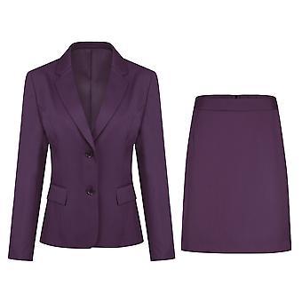 Homemiyn Women's Casual Slim Two-piece Suit Solid Color Suit (top & Skirt) 5 Colors