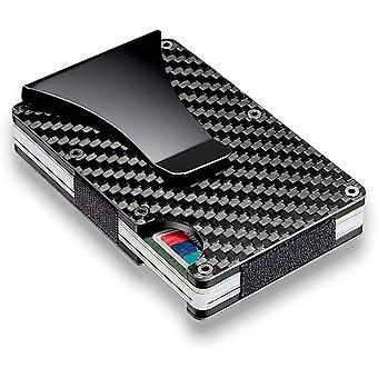 Men Rfid Blocking Slim Money Clip Carbon Fiber Credit Card Holder Pocket Wallet Clip